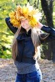 美丽的秋天妇女 免版税库存照片