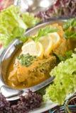印第安食物,鱼咖喱 免版税库存照片