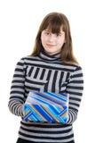 明亮的儿童礼品女孩存在 免版税库存图片
