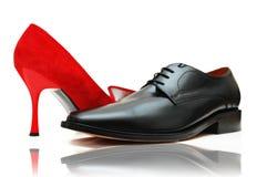 女性男性鞋子 免版税库存照片
