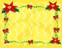 圣诞节框架一品红 库存照片