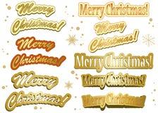 圣诞节金黄集贴纸 库存图片