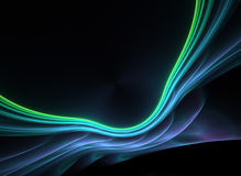 蓝蓝分数维发光的绿色等离子 库存图片