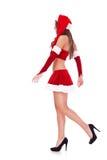 圣诞老人性感侧视图走 免版税库存图片