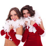 一起突出妇女的圣诞老人 免版税库存照片