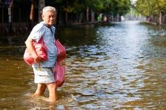 中央洪水击中泰国泰国 免版税库存图片