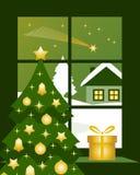 在视窗之外的圣诞节彗星 免版税库存照片