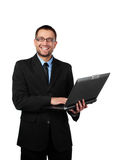 生意人英俊的膝上型计算机 免版税库存图片