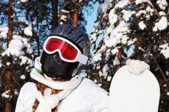 女孩挡雪板 库存图片