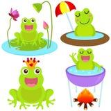 逗人喜爱的青蛙图标筑成池塘向量 库存图片