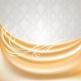 背景米黄窗帘灰色丝绸组织 免版税图库摄影