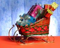 礼品爬犁玩具 免版税图库摄影