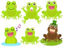 青蛙图标筑成池塘向量 库存照片