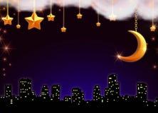 ноча над звёздный городком Стоковые Фото
