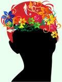 флористические волосы девушки Стоковое Изображение