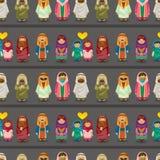 无缝阿拉伯动画片模式的人员 免版税库存图片