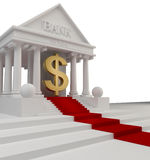 Κτήριο τράπεζας με ένα χρυσό σύμβολο ΗΠΑ Στοκ Εικόνα