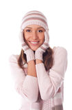 美丽的帽子冬天妇女 免版税库存照片