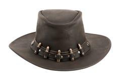 коричневая кожа шлема ковбоя пуль Стоковые Фото