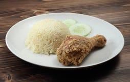 Τηγανισμένο κοτόπουλο με το ρύζι Στοκ Φωτογραφίες