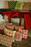 阿拉伯艺术被绣的丝绸 免版税库存照片