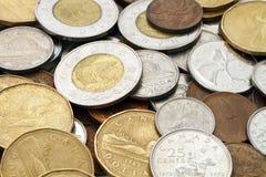 加拿大现代货币堆 库存照片