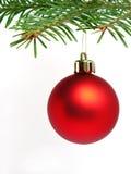 красный цвет рождества шарика Стоковое Изображение