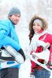 夫妇滑冰冬天 图库摄影