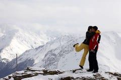 山滑雪者顶层 免版税库存照片