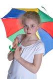 与伞的孩子 免版税库存图片
