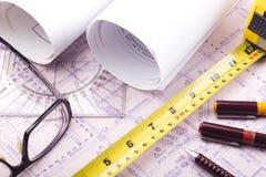 план дома конструкции светокопии архитектора Стоковое Изображение RF