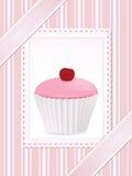 背景杯形蛋糕粉红色葡萄酒 免版税图库摄影