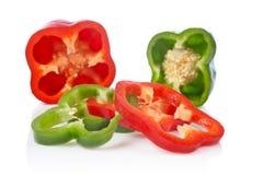 πράσινες κόκκινες φέτες πιπεριών Στοκ Εικόνα