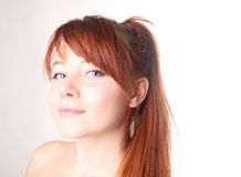 美丽的长期头发红色肉欲的妇女年轻人 库存照片