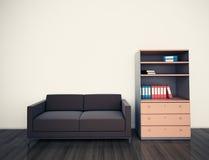 最小的现代内部长沙发办公室 图库摄影