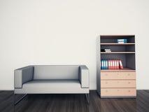 最小的现代内部长沙发办公室 库存图片
