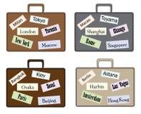 集合时髦的手提箱旅行 免版税库存照片