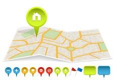 город обозначает карту Стоковое Фото
