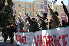 希腊私人部门罢工 库存照片