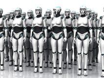 机器人组休眠的妇女 免版税库存照片
