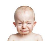 男婴哭泣 免版税库存照片