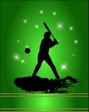 Силуэт бейсболиста Стоковое Изображение RF