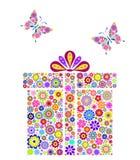 белизна подарка коробки предпосылки цветастая Стоковые Изображения RF