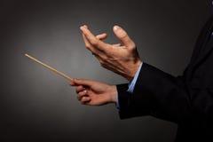 处理男性音乐的导体 免版税库存照片