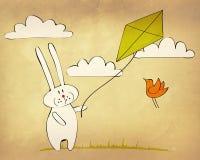 兔宝宝飞行风筝 库存图片