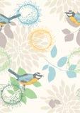 πρότυπο λουλουδιών πουλιών άνευ ραφής Στοκ εικόνες με δικαίωμα ελεύθερης χρήσης