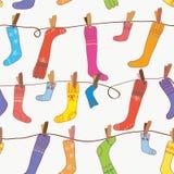 滑稽的无缝的袜子墙纸 免版税库存照片