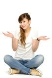 打手势少年的女孩 免版税图库摄影