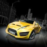 αθλητισμός αυτοκινήτων κίτρινος Στοκ φωτογραφία με δικαίωμα ελεύθερης χρήσης