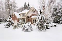 家庭被雪包围住 库存图片